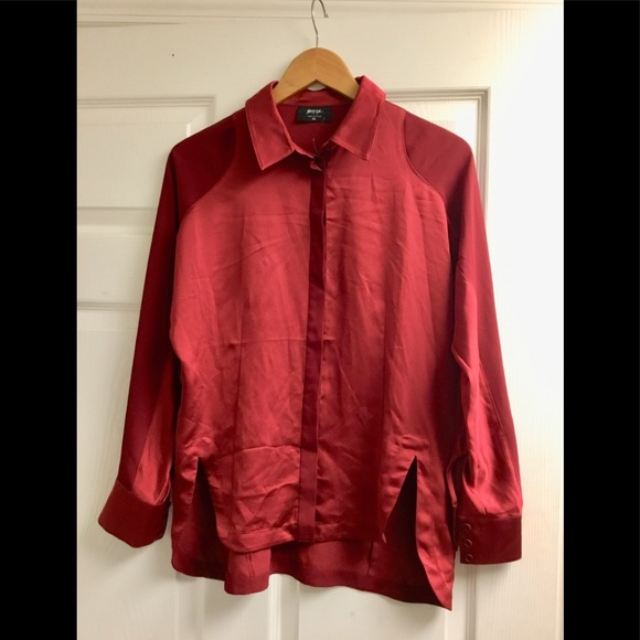 Nasty Gal Tops - Nasty Gal satin deep red color shirt size XS